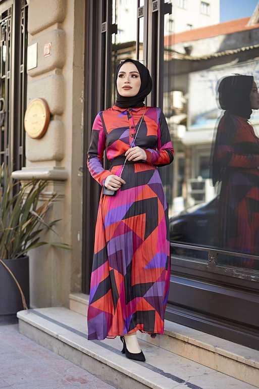 ElizaModa Geometrik Desenli Şık Tesettür Elbise Modelleri