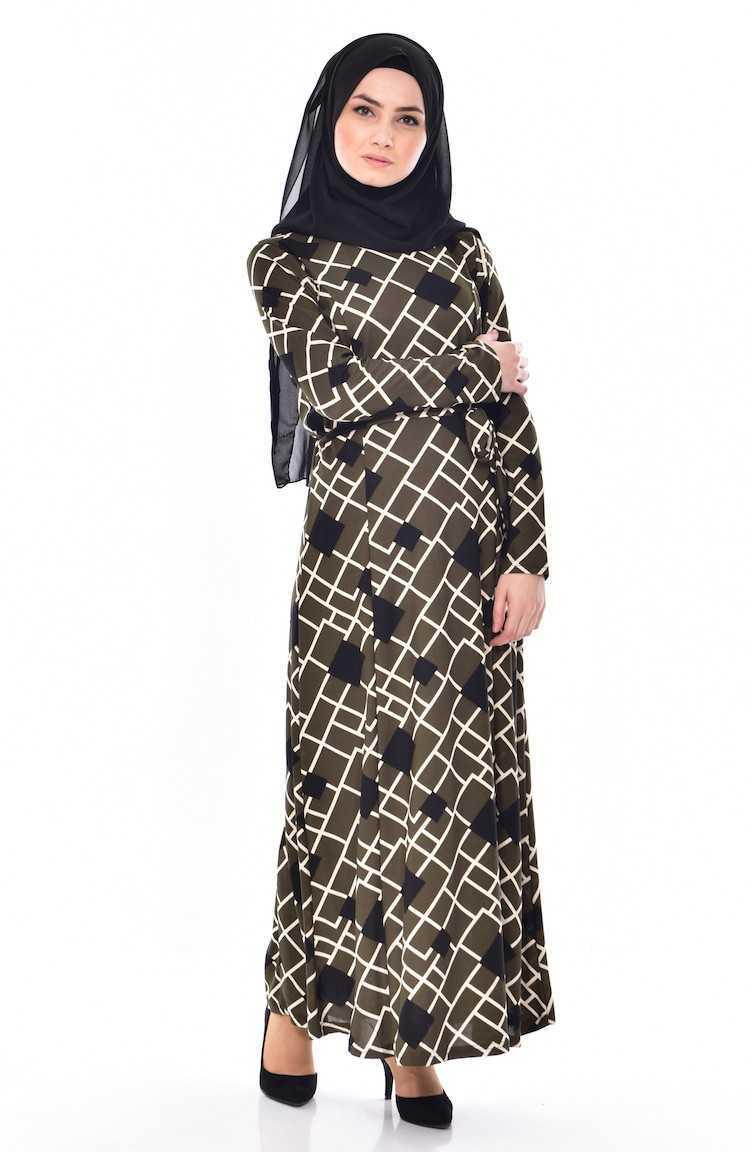 En Güzel Sefamerve Geometrik Desenli Tesettür Elbise Modelleri