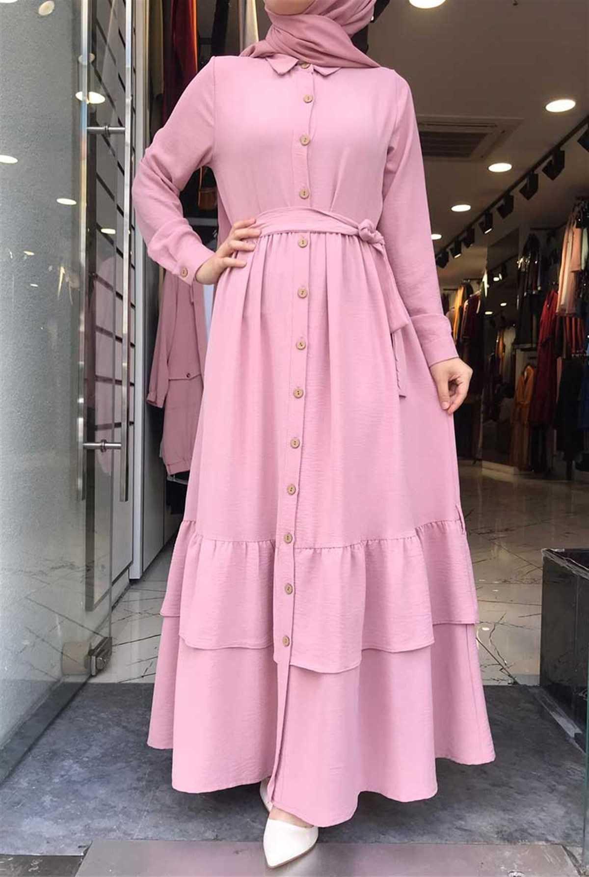 Gizemsmoda Düğmeli Tesettür Elbise Modelleri