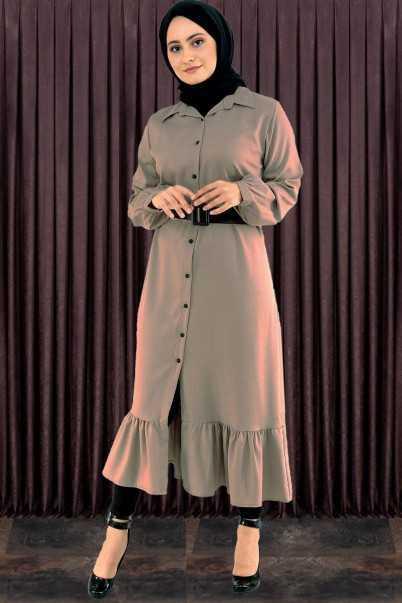Kral Giyim Düğmeli Tesettür Elbise Modelleri