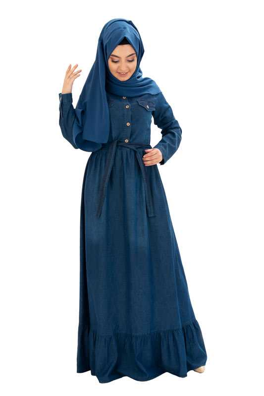 Miss Zemzem Düğmeli Tesettür Elbise Modelleri
