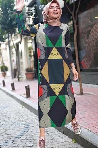 Missemramiss Geometrik Desenli Tesettür Elbise Modelleri
