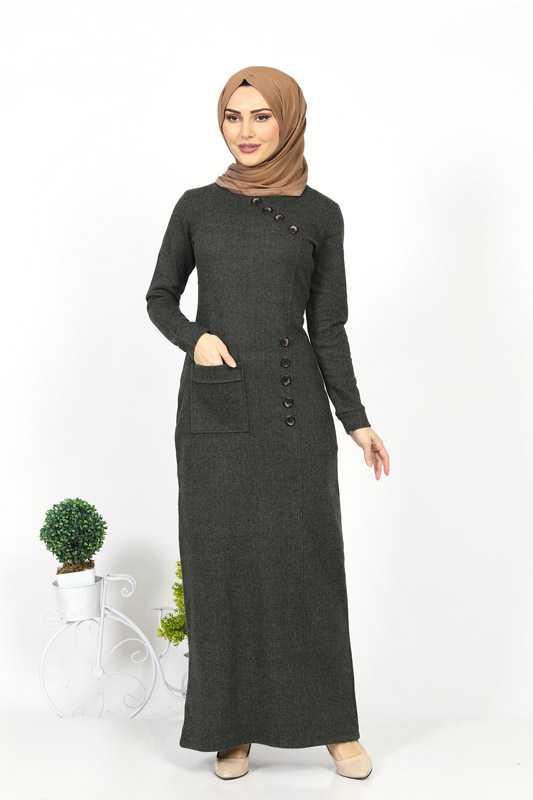 Moda Berfu Düğmeli Tesettür Elbise Modelleri