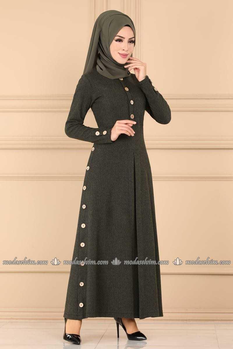 Moda Selvim Aksesuar Düğmeli Tesettür Elbise Modelleri