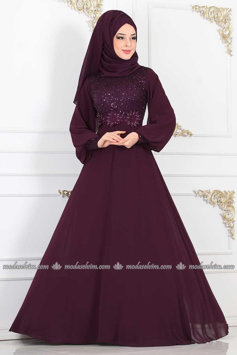Moda Selvim Tesettür Çiçekli Abiye Elbise Modelleri