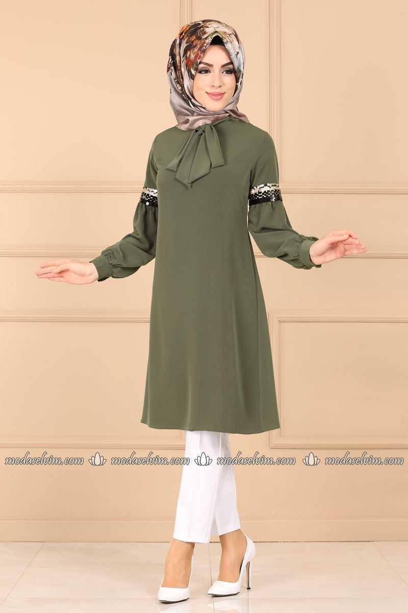 Moda Selvim Tesettür Fularlı Tunik Modelleri