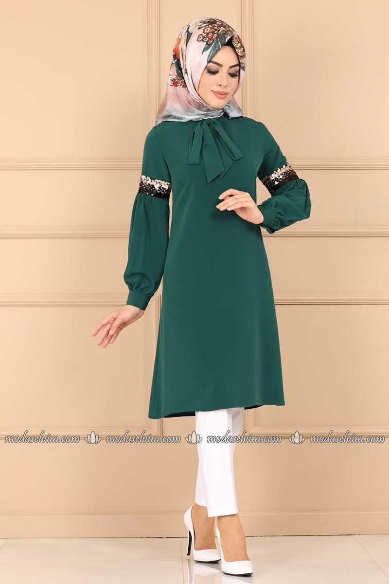 Moda Selvim Tesettür Fularlı Yeşil Tunik Modelleri