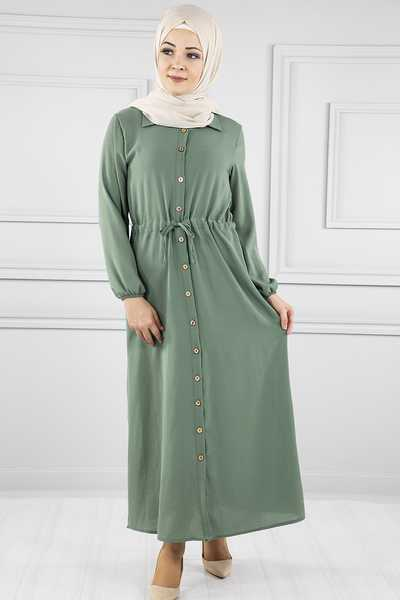 ModaNoiva Düğmeli Tesettür Elbise Modelleri