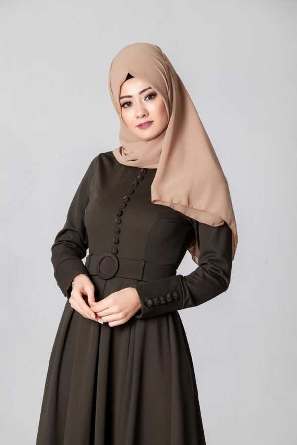 Modaebva Düğmeli Tesettür Elbise Modelleri