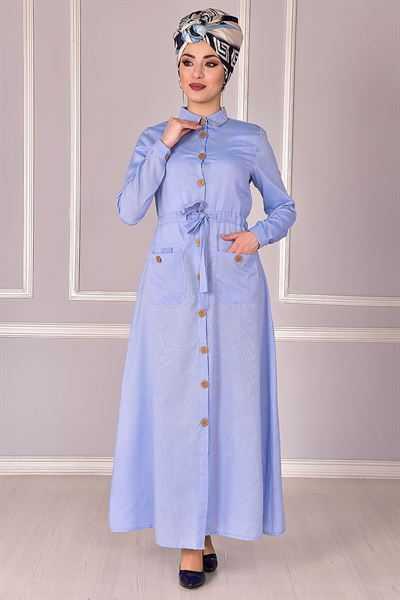 Modamerve Düğmeli Tesettür Elbise Modelleri