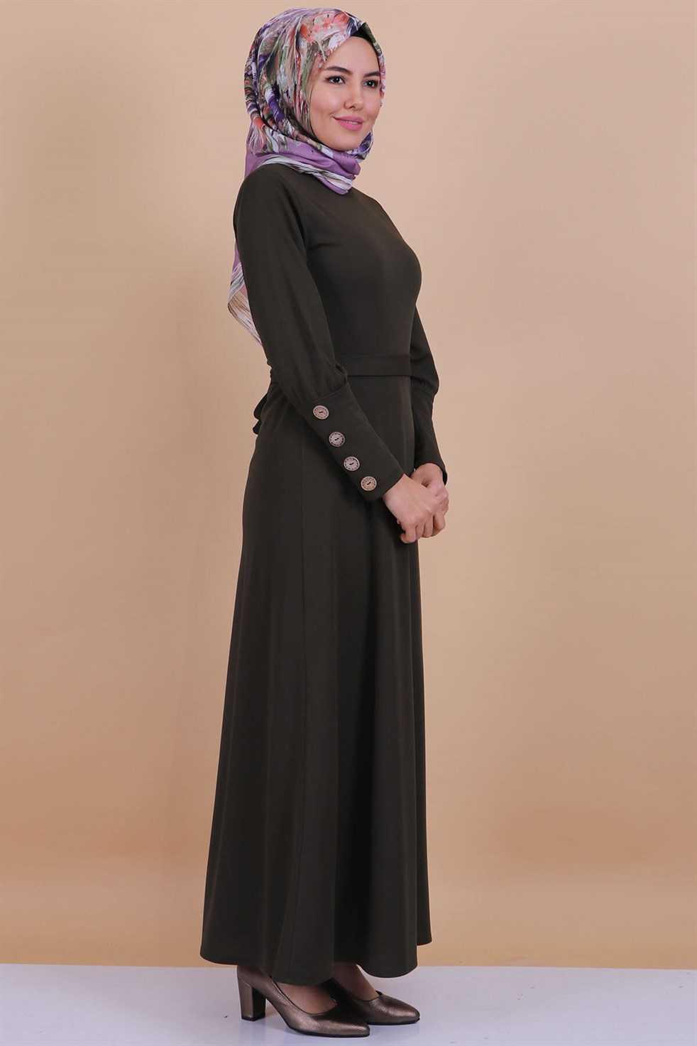 Modaperiy Düğmeli Tesettür Elbise Modelleri