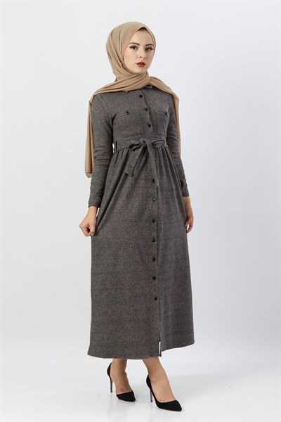 Modasima Düğmeli Şık Tesettür Elbise Modelleri