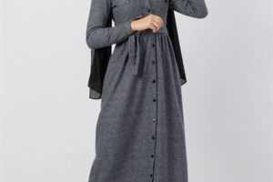 Düğmeli Tesettür Elbise Modelleri