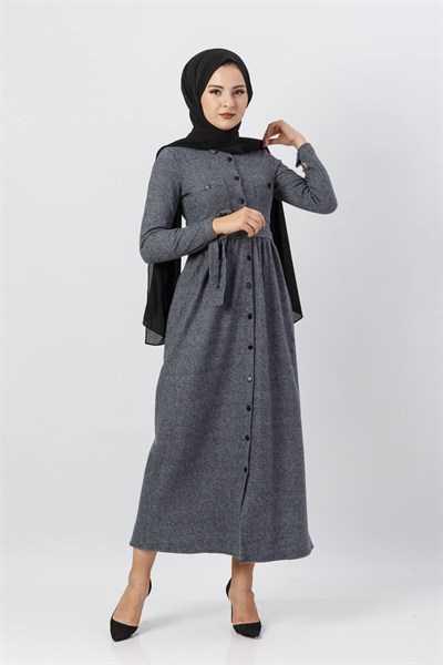 Modasima Düğmeli Tesettür Elbise Modelleri