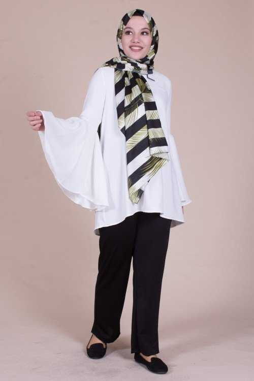 Modayare Günlük Tesettür Beyaz Bluz Modelleri
