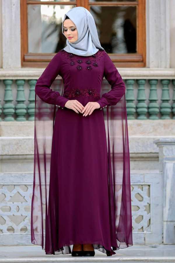 Neva Style Şık Tesettür Çiçekli Abiye Elbise Modelleri