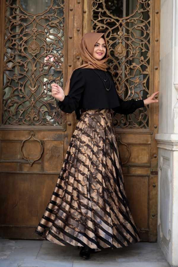 Pınar Şems Deri Detaylı Tesettür Etek Modelleri