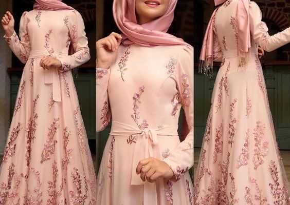 Tesettür Çiçekli Abiye Elbise Modelleri
