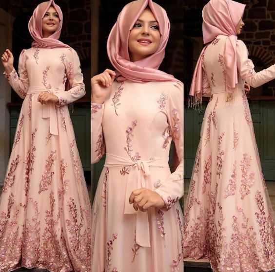 Pınar Şems En Güzel Tesettür Çiçekli Abiye Elbise Modelleri