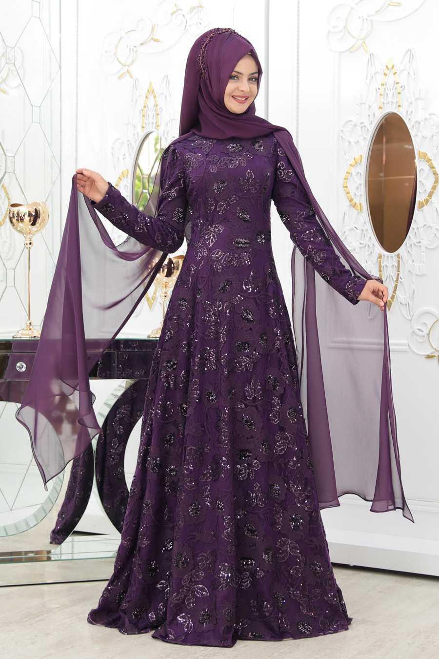 Pınar Şems Tesettür Çiçek Desenli Abiye Elbise Modelleri