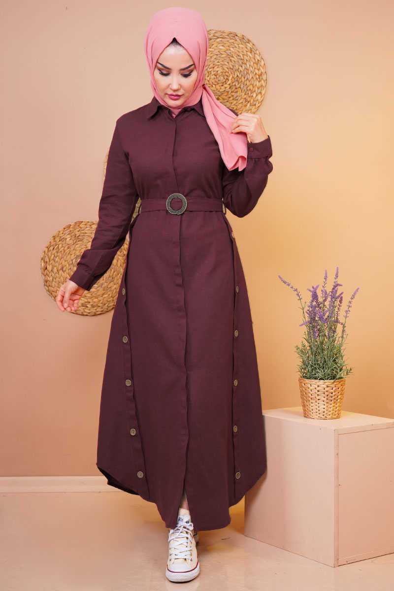 Pink Lady Düğmeli Tesettür Elbise Modelleri