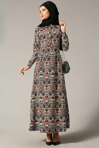 Refka Geometrik Desenli Tesettür Elbise Modelleri