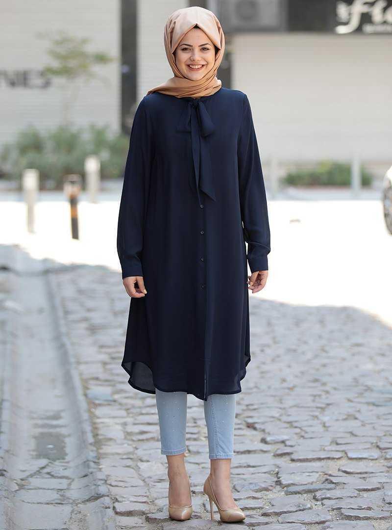 Saliha Tesettür Fularlı Tunik Modelleri