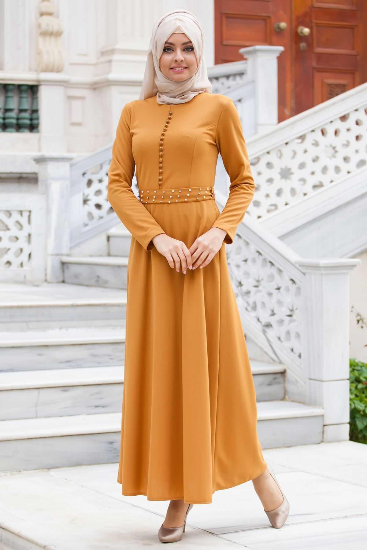Sedanur Düğmeli Tesettür Elbise Modelleri