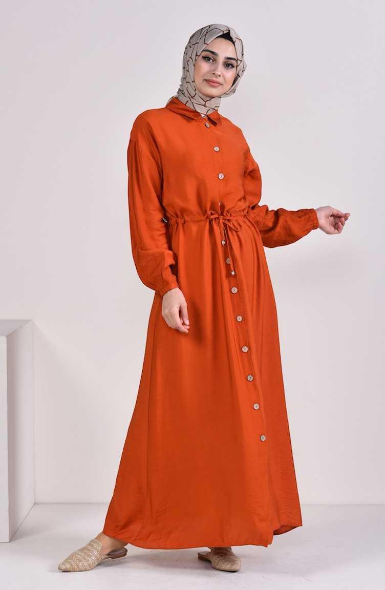 Sefamerve Düğmeli Tesettür Elbise Modelleri