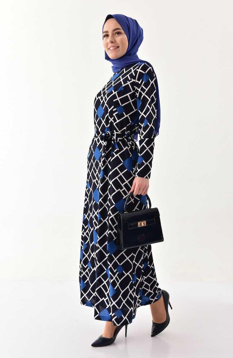Sefamerve Geometrik Desenli Tesettür Elbise Kombinleri