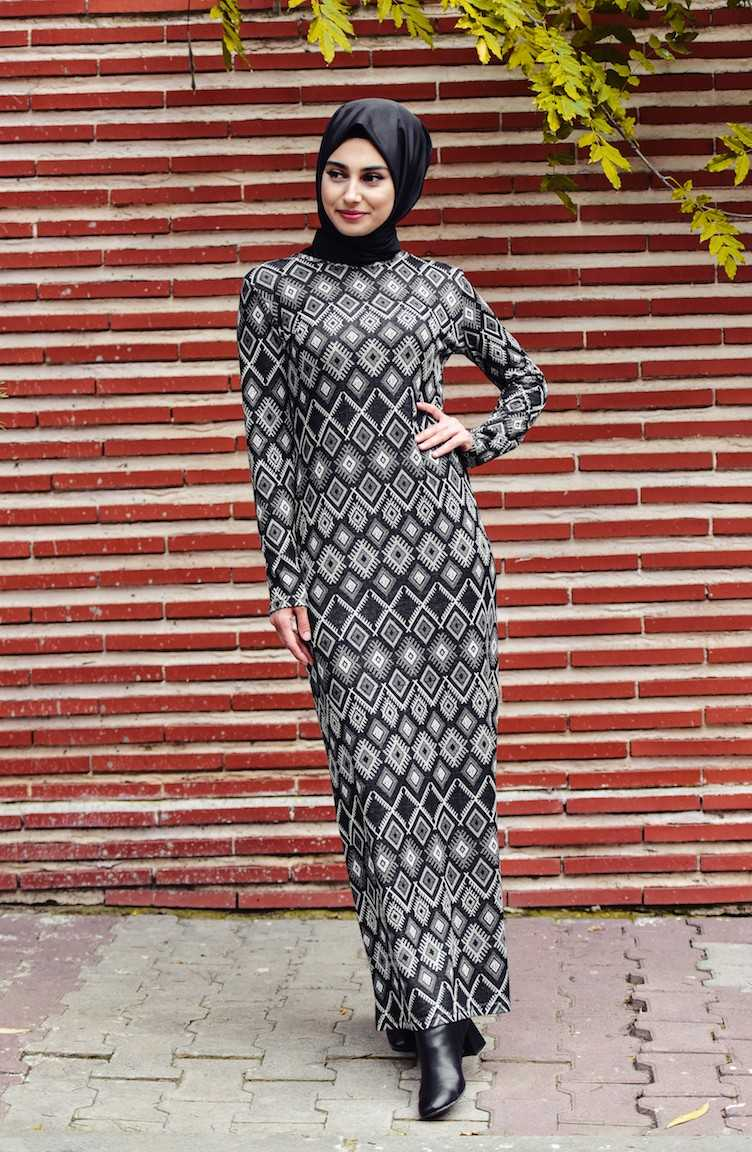 Sefamerve Geometrik Desenli Tesettür Elbise Modelleri