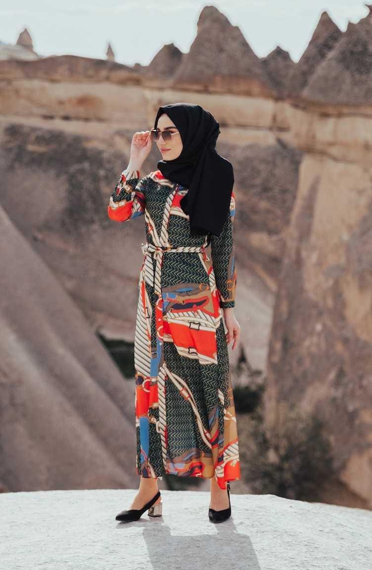 Sefamerve Geometrik Desenli Tesettür Yazlık Elbise Modelleri