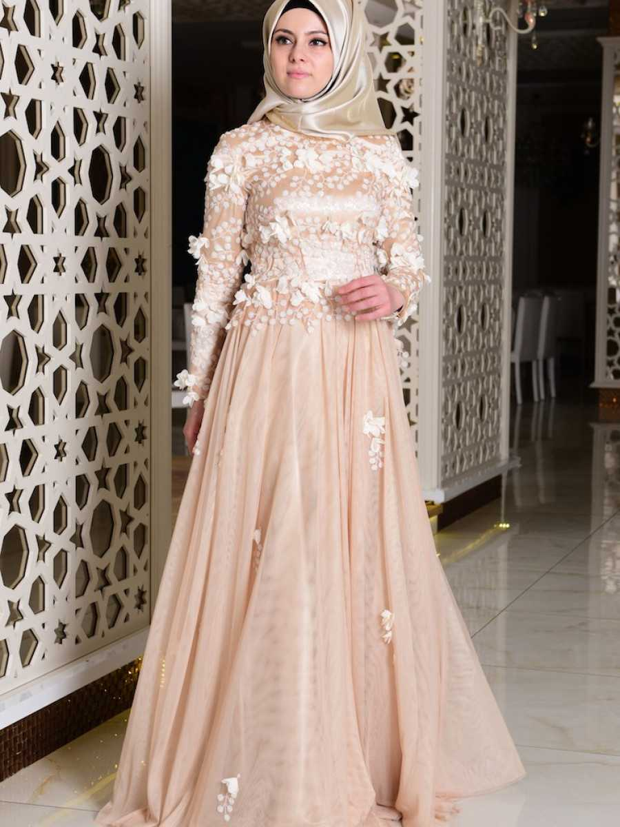 Sefamerve Tesettür Çiçekli Abiye Elbise Modelleri