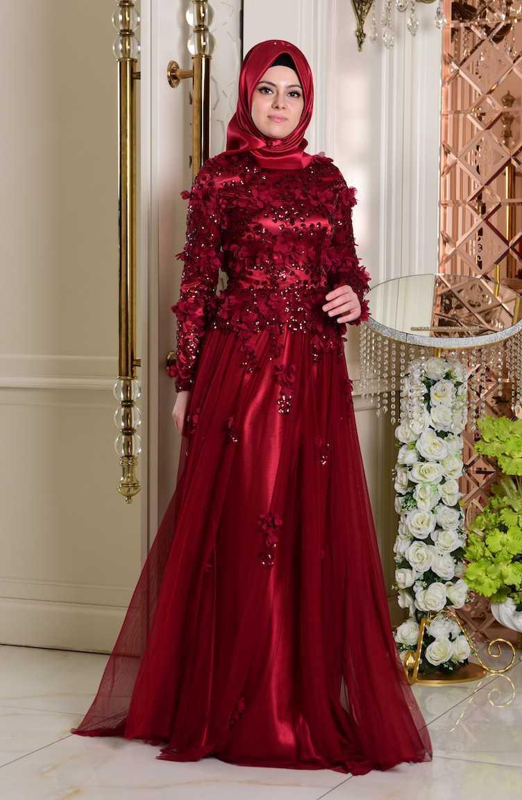 Sefamerve Tesettür Çiçekli Kırmızı Abiye Elbise Modelleri