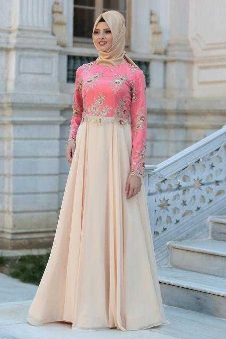 Tesettür İsland Çiçekli Abiye Elbise Modelleri