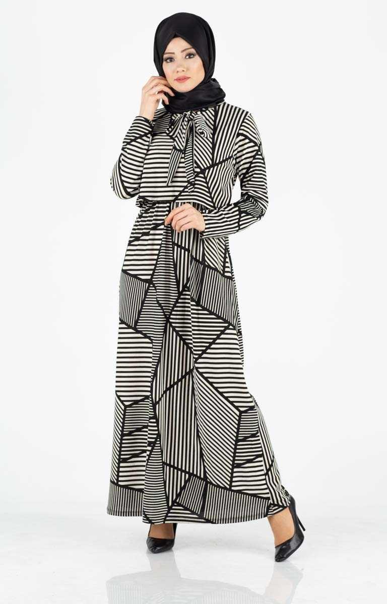 Tesettür Pazarı Geometrik Desenli Elbise Modelleri