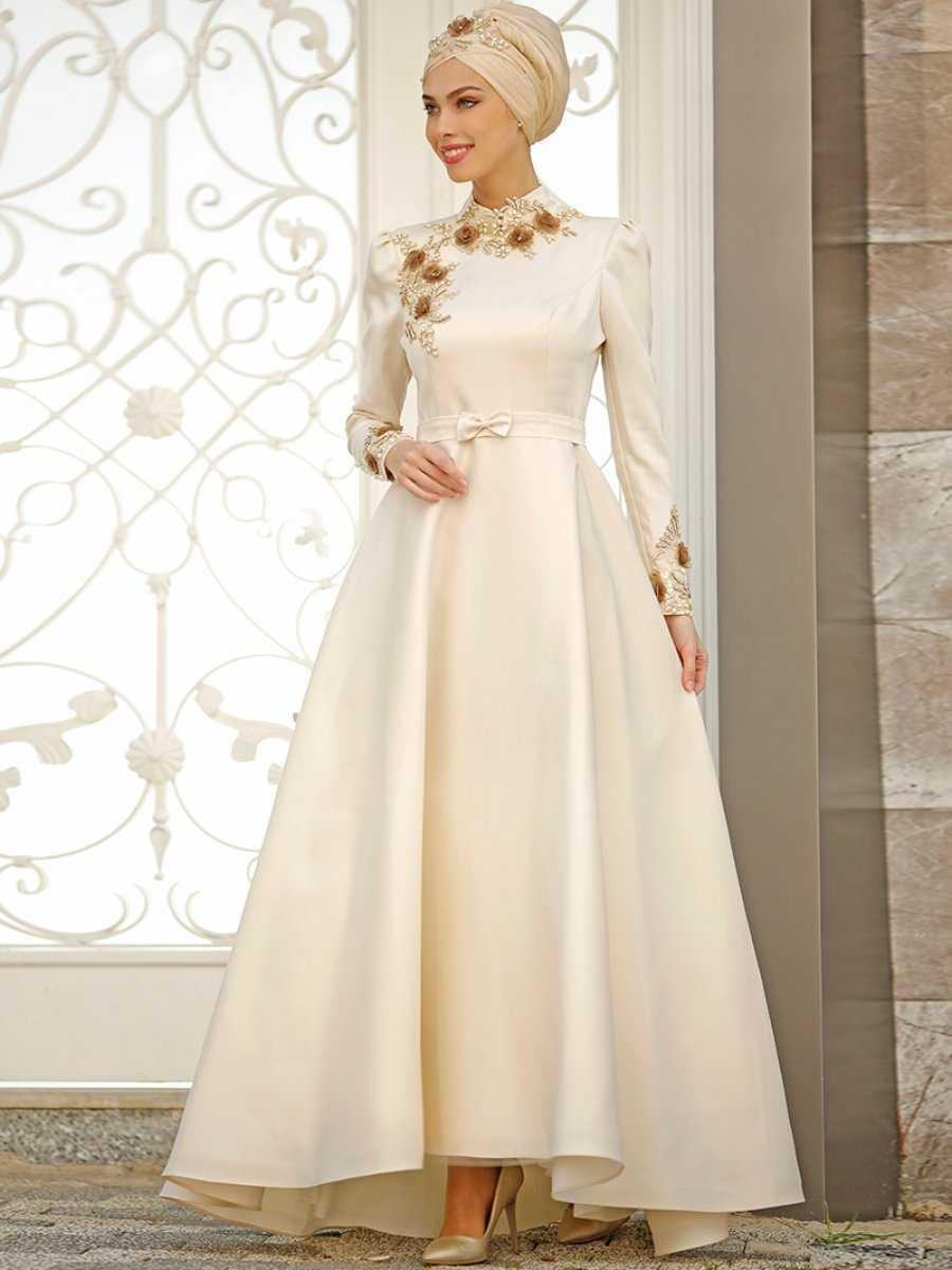 Zehrace Tesettür Çiçekli Abiye Elbise Modelleri