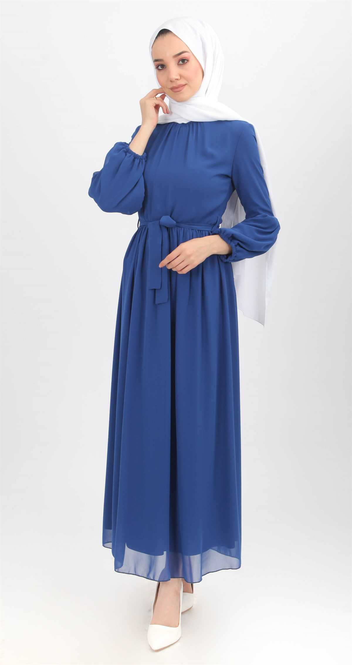 Şevval Giyim Tesettür Mavi Elbise Modelleri