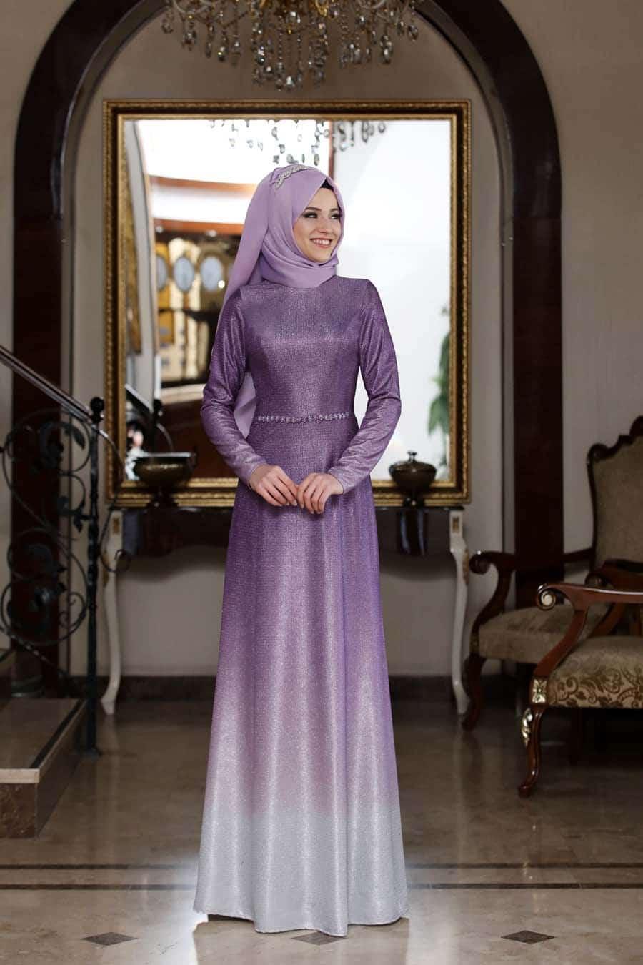 Al Marah Şal Kombinli Tesettür Abiye Elbise Modelleri