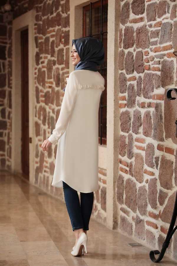 Al Marah Tesettür Ekru Tunik Modelleri