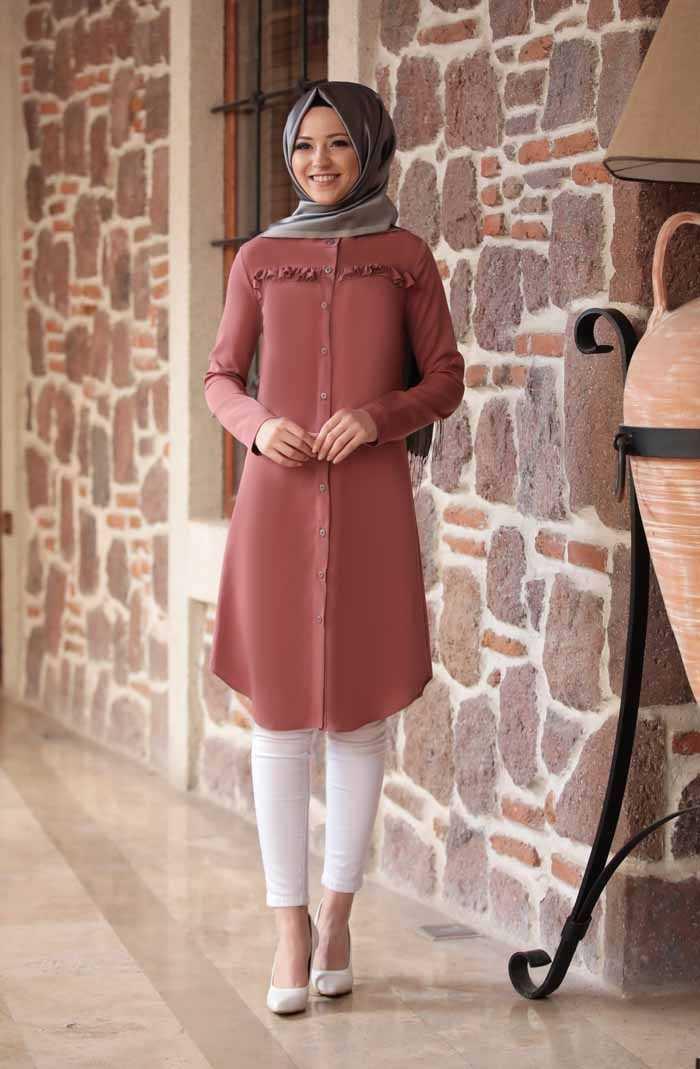 Al Marah Tesettür Kiremit Renk Tunik Modelleri