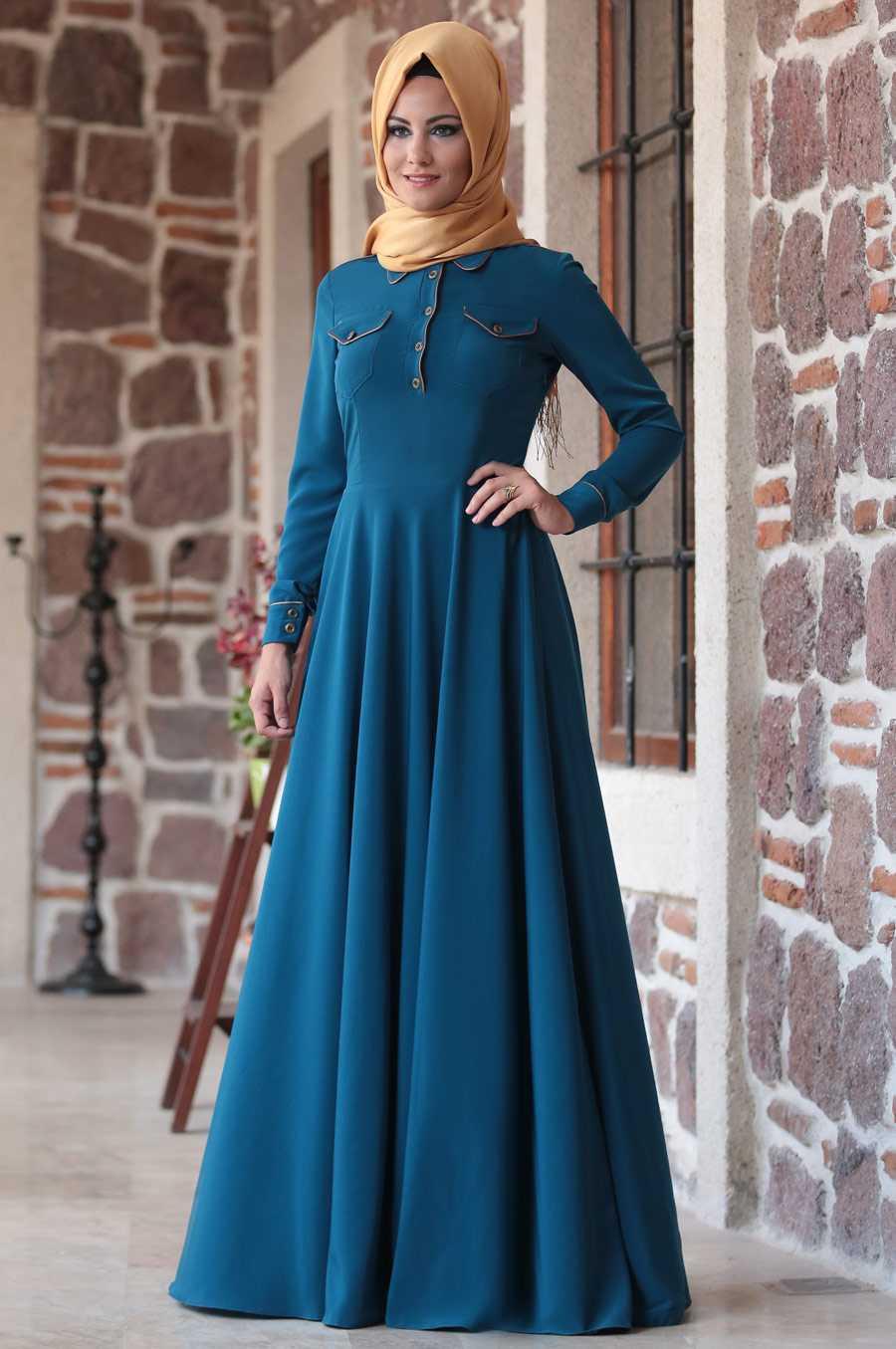 Al Marah Tesettür Petrol Mavisi Elbise Modelleri
