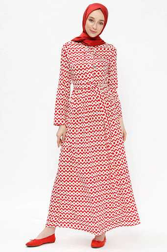 Almera Tesettür Desenli Kırmızı Elbise Modelleri