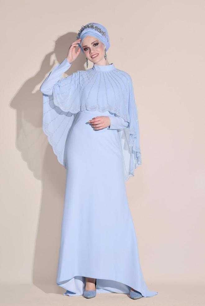 Alvina Şal Kombinli Tesettür Abiye Elbise Modelleri