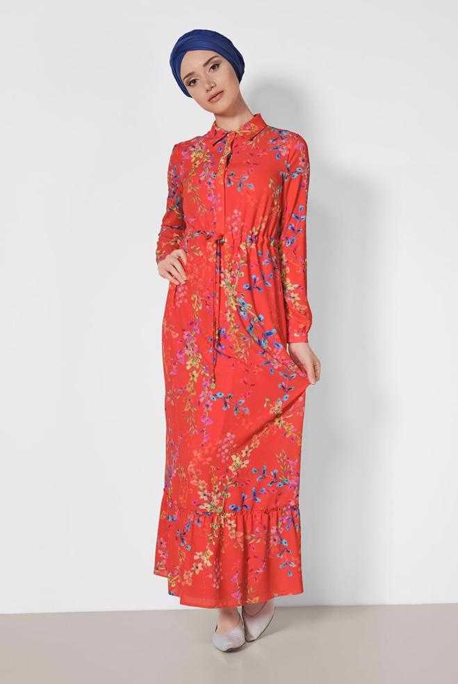 Alvina Tesettür Kırmızı Elbise Modelleri