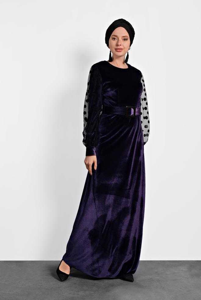 Alvina Tesettür Puantiyeli Kadife Elbise Modelleri