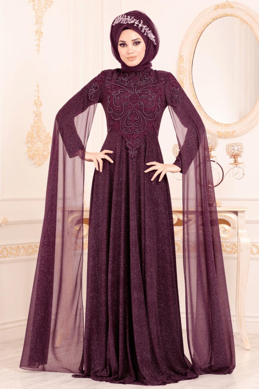 Anıl Moda Şal Kombinli Tesettür Abiye Elbise Modelleri