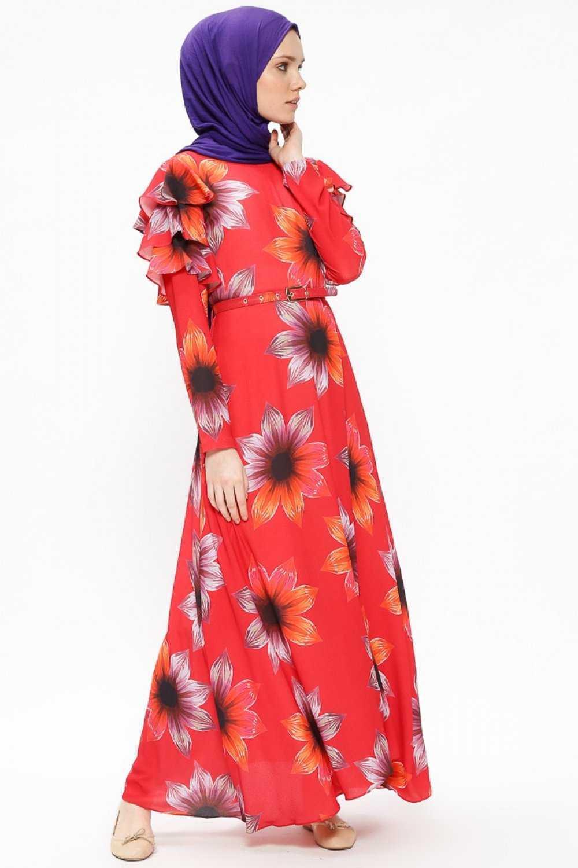 Beha Tesettür Kırmızı Elbise Modelleri
