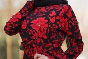 Tesettür Kırmızı Elbise Modelleri