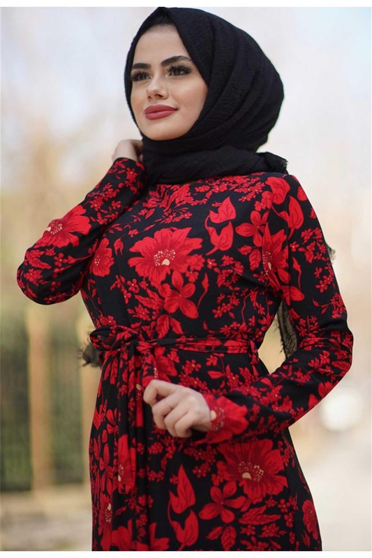 Benguen Tesettür Kırmızı Desenli Elbise Modelleri